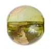 Glass Bead Round 12mm 8'' Str. Olive/Gold